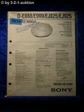 Sony Service Manual D E888 /E999 /EJ825 /EJ925 CD Player (#5834)