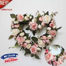 Flower Garland Door Wall Simulation Rose Flower Heart Wreath Hanging Decor New