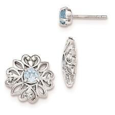 Sterling Silver Polished Rhodium Plated w/Blue Topaz Stud Earring w/Jacket