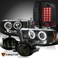 02-05 Dodge Ram Black Projector Headlights+LED Tail Lamps+Smoke Fog Lights