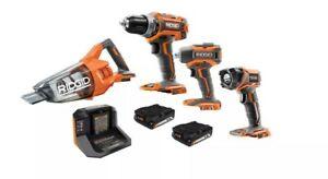 RIDGID 18V Brushless Cordless Combo Kit (4-Tool) w/ 2x1.5 Ah Batteries & Charger