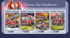 Sao Tome & Principe 2016 MNH Fire Trucks Engines 4v M/S Bedford TK Stamps