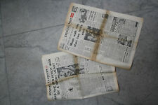 ephemera  MOON LANDING ERA  PAIR OF ORIGINAL NEWSPAPERS