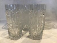 "5 American Brilliant Period Heavy Cut Glass Tumbler 6"" Hobstar Crystal"