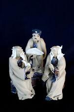 "2.5W x 3""H 3 Old men on bench Mudmen Bonsai Figurine"