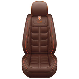 Deluxe Car Seat Cover PU Leather Waterproof Breathable Front Cushion Mat Brown