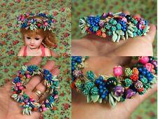 RARE Ancienne petite couronne pour poupée BLEUETTE ou autre fleurs en biscuit ?