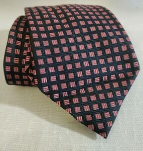 Brooks Brothers Makers navy blue & pink silk checker geometric neck tie USA VTG