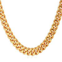 """18K Gold Plated Classic 7MM Chunky Helix Link Chain Necklace Jewelry for Men 22"""""""