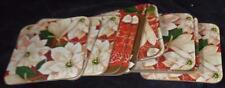 Nice Set of 12 Festive Poinsettia Laminate Cardboard Coasters - PRETTY - USED