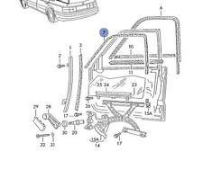 VW Passat B3 B4 right upper door window seal 3A0837440A New genuine VW part