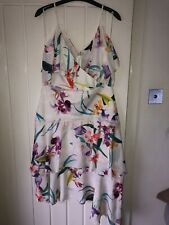 Lipsy Size 12 White Floral Printed Cold Shoulder Dress BNWT RRP£65