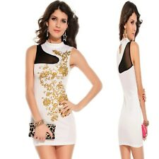 Sz 8 10 Black Sleeveless Dance Party Wear Club Cocktail Formal Chic Mini Dress