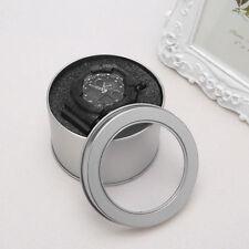 Round Metal Jewelry Wrist Watch Display Box Storage Organizer Case With Cushion