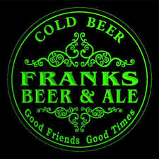 4x ccqs1967-g FRANKS Beer & Ale Cold Beer Bar Engraved Coasters