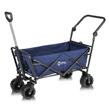 More details for folding wagon pull & push cart trolley garden camping festival sports beach blue