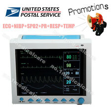 US Seller, ICU CCU Vital Signs Patient Monitor ECG+NIBP+SPO2+PR+RESP+TEMP,FDA CE