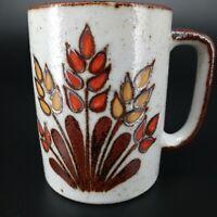 Vintage Coffee Mug Cup Glazed Hand Painted Stoneware Ceramic 60s 70s Boho