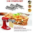 3x Pasta Maker Machine Roller Cutter Set For Kitchen Aid Mixer Steel Attachment
