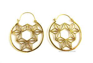 Brass Earrings, Geometry, Hippy, Tribal, Handmade in India, Geometric Jewellery