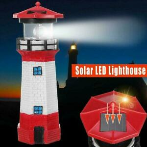 Solar Powered RED Lighthouse Statue Rotating Garden Outdoor Yard Deco Patio W0A8
