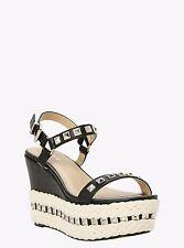 Torrid Stud Black Faux Leather Ivory Jute Wedges Shoes Size 11 Wide Width #20462
