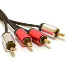 1m Aluminium PRO 2x RCA Phono Plugs Stereo Audio Cable Gold Lead [007517]