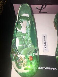 New Dolce & Gabbana Girls KIDS Banana Leaf With Crystals Ballet Flats Size 28