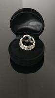 Ring 925 Sterling Silber, Markasit Steinen Größe-6 Breite 15mm
