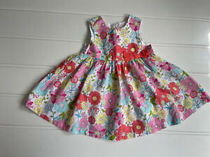 Baby girl Age 4-6 Months Dress H&M Floral Print Cotton Summer Bow & Button Back