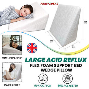 Large Acid Reflux Flex Foam Support Bed Wedge Pillow Quilted Removable Zip Cover