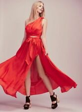 Free People Silk Maxi Skirt Jen's Pirate Booty Roses Are Red Slit Satin NEW