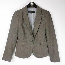 Zara Ladies Herringbone 100% Wool Equestrian Style Blazer Jacket - Size M