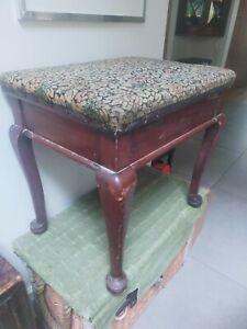 Victorian mahogany upholstered adapted piano stool