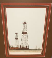 Oil Derrick Well Pump Petroleum Color Lithograph Signed & Numbered by R. Bumpass