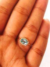 0.50Cts Aquamarine & Diamond Studded Vintage Ring in 14K Yellow Gold