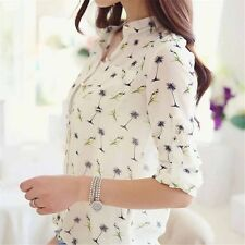 New Women Lady's Chiffon T Shirt Floral Printed Long Sleeve Blouse Casual Tops