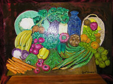 """Fine Art Oil Painting,"""" Still Life: Fruit and Vegetables"""",  24"""" X 36"""", on panel"""