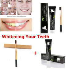 105g Bamboo Charcoal Black Toothpaste Teeth Whitening Remove Stains+ Toothbrush