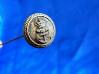 ANTIQUE MILITARY NAVAL BRASS BUTTON  LONG HAT PIN RETRO JEWELLERY ANCHOR CROWN