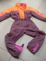 RETRO VINTAGE SKI SUIT ladies UK 16 14 mens medium large orange purple 80s