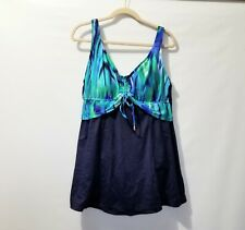 Maxine of Hollywood 18W Blue Bathing Suit Swimsuit Swim Dress Watercolors