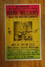 Hank Williams Tour posterw/ the Drifting 1952 Cornith Mississippi Civic Center