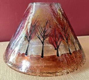 Yankee Crackled Glass Candle Shade Fall Trees