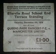 1975/76 ORIGINAL DIVISION ONE TICKET QUEENS PARK RANGERS  v MANCHESTER UNITED