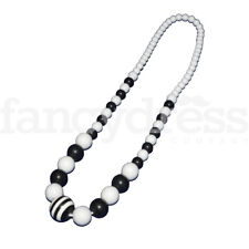 Black White Cruella Fancy Dress Long Spanish Flamenco Bead Elasticated Necklace