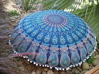 Indien Bleu Paon Mandala Sol Oreillers Housse Coussin Bohème Rond Ottomane