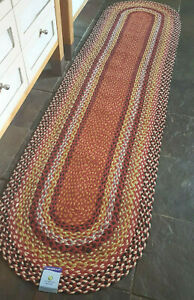 Rustic 100% Jute Rust Aqua Black oval reversible 60x230cm natural fibres runner