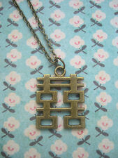 FUNKY BRASS CHINESE SYMBOL HAPPINESS NECKLACE KITSCH CUTE RETRO HAPPY CHARM