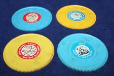 4 Lot Vintage Tomy Tuneyville Toy Music Discs Plastic Mini Records Used 1970'S